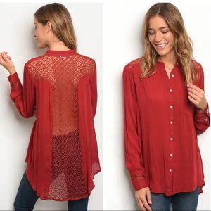 Tops - 5 for $100 Crochet Back Sheer Tunic Blouse